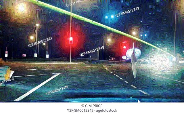 painting filter view of a Brisbane motorway underpass and lights at night