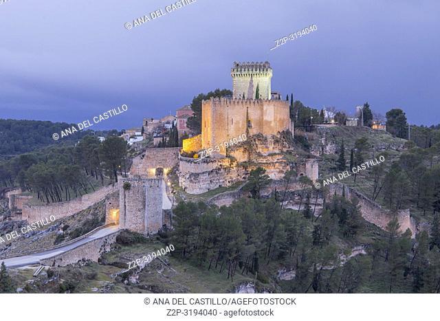 Alarcon with the Castle of Altas Torres and the Reservoir Cuenca Castile La Mancha Spain. Marques de Villena Castle, now Parador Nacional, a state run hotel