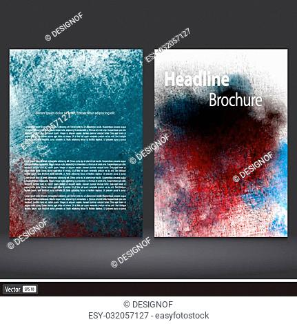 Grunge Set of corporate business stationery templates. Abstract brochure design. Modern back and front flyer backgrounds. Vector illustration