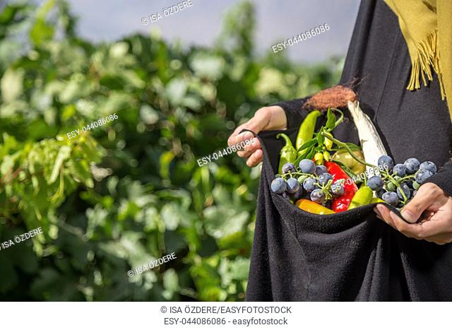 Woman holds in her hands the harvest of vegetables:grapes,peppers,corns with vineyard on background