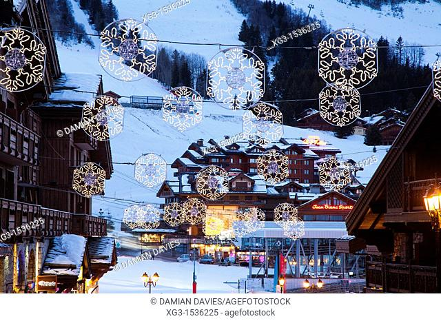 Courchevel 1850 at dusk with Christmas decorations, Courchevel 1850, France