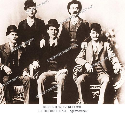 Butch Cassidy's Wild Bunch gang of train robbers in portrait taken in Fort Worth, Texas in 1901. Left to right, seated: Harry A