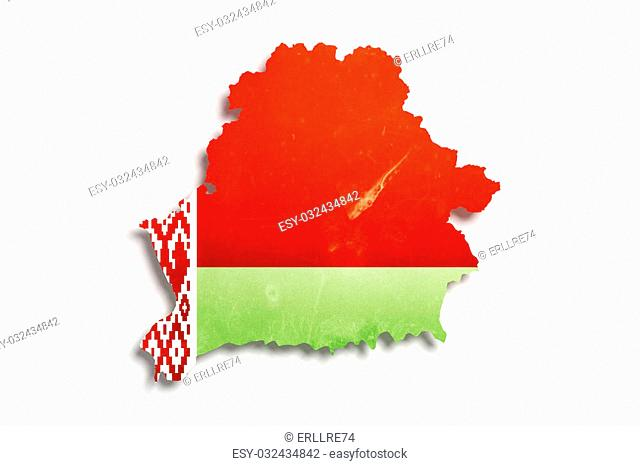 3d rendering of Belarus map and flag on white background
