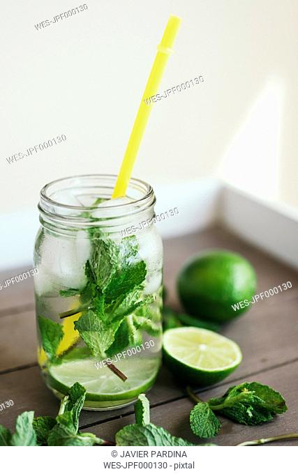 Fresh Mojito in glass with drinking straw