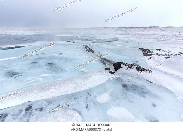 Snowy Landscape With Large Ice-formations Under A Stormy Sky In Iceland