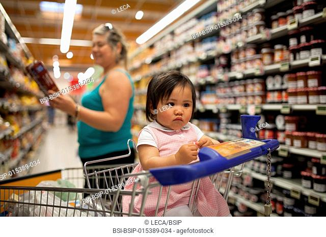 11-month old baby at the supermarket