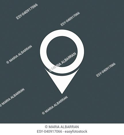 Isolated location icon for maps on a dark background. Vector illustration