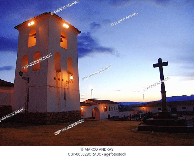 a peruvian church building at the night time
