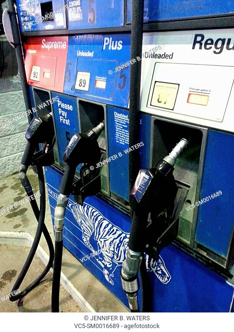 Gasoline pumps at a gas station in Washington State, USA