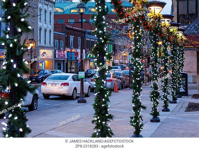 Main Street decorated for the Christmas season in Downtown Brampton, Ontario, Canada