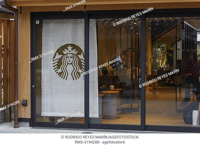 December 5, 2018, Saitama, Japan - A logo of Starbucks is seen at its coffee shop in Kawagoe. The branch opened last March is located near to the Toki no Kane...
