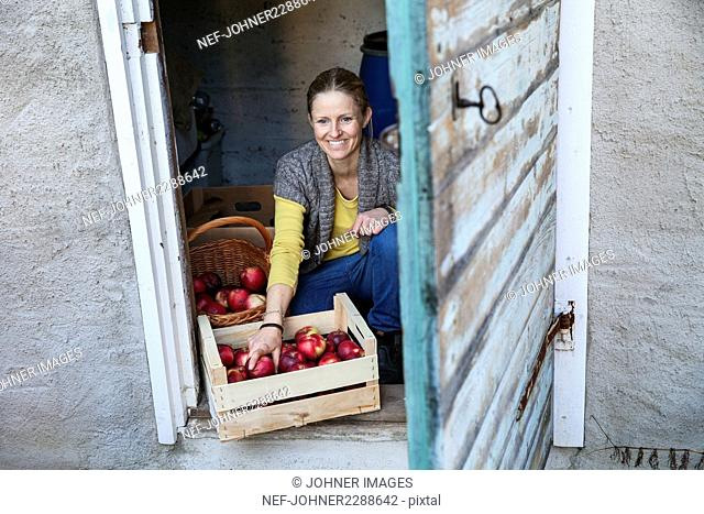 Smiling woman with crate full of apples