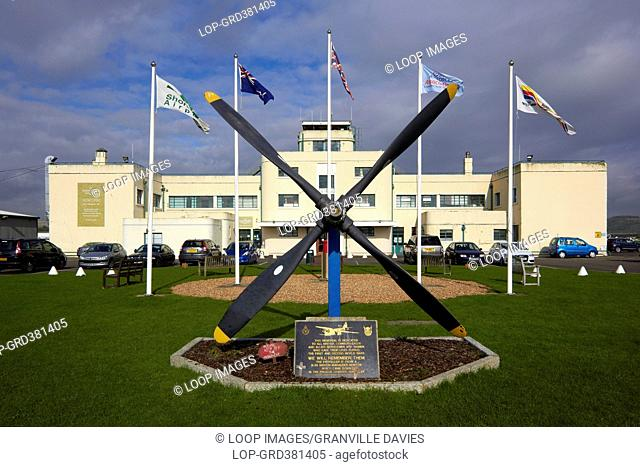 A view of the war memorial and airport building at Shoreham airport