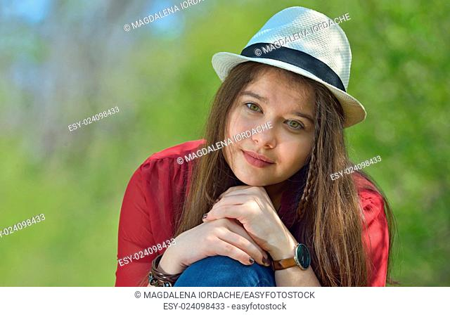 Beautiful girl portrait in forest