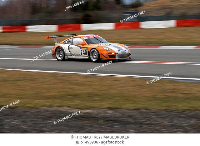 Test-and-tune session at the VLN Langstreckenmeisterschaft Nuerburgring championship, Endurance Racing Championship, the new Porsche 911 GT3 R hybrid is used by...