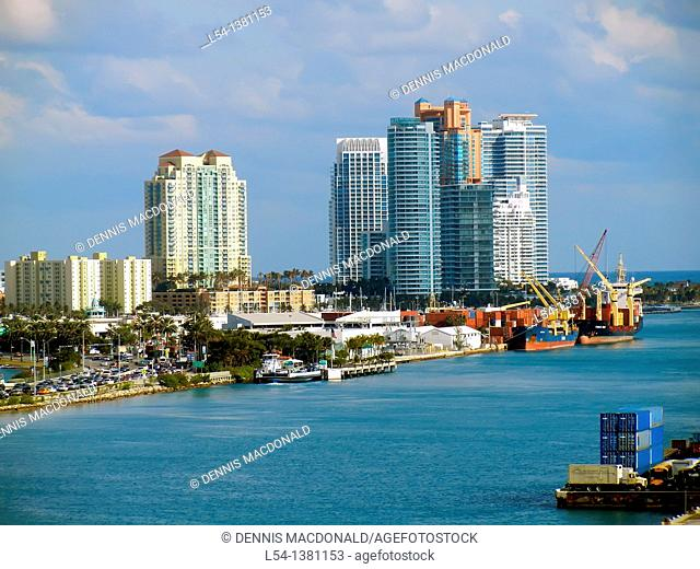 View of Miami Beach Florida from Cruise Ship NCL Caribbean