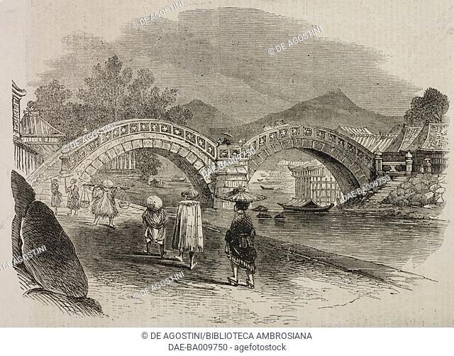 Stone bridge at Isahaya, Japan, illustration from the magazine The Illustrated London News, volume XXXIX, October 26, 1861