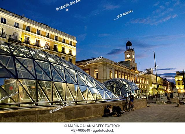 New station at night. Puerta del Sol, Madrid, Spain