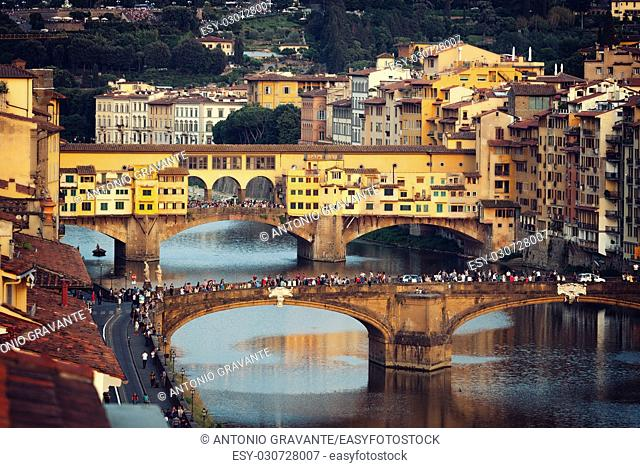 The Ponte Vecchio at sunset, Old Bridge, in Florence, Italy