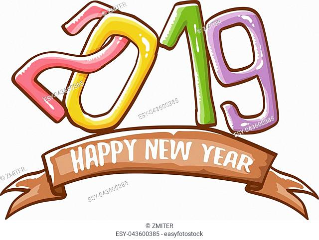 2019 Happy New Year poster or card design template. Vector happy new year greeting illustration with colored hand drawn 2019 numbers and stars isolated on white...