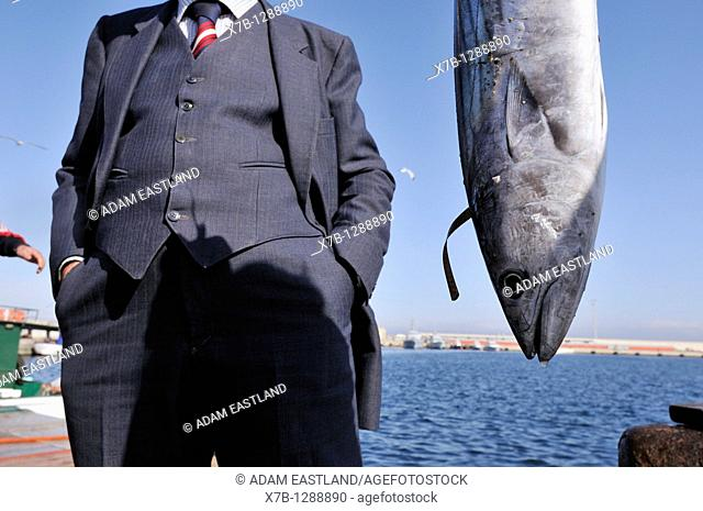 Fresh fish landed and sold directly from the quay. Gallipoli, Apulia, Italy