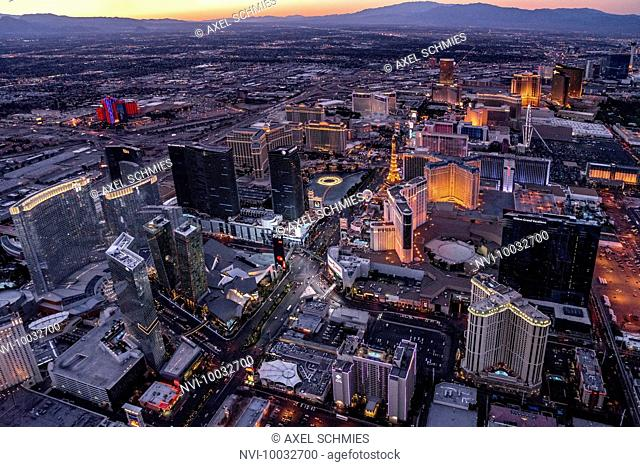 Aerial from helicopter at dusk, Las Vegas, Nevada, USA