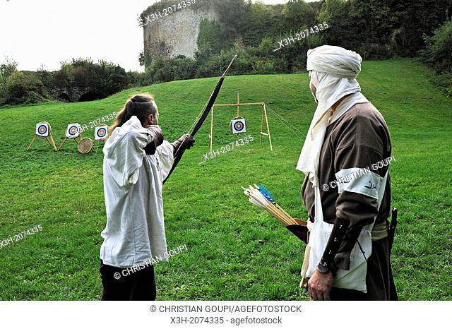 bowmen in the moat of the Chateau, one of the largest fortified medieval castle in Europe, Sedan, Ardennes department, Champagne-Ardenne region, France, Europe
