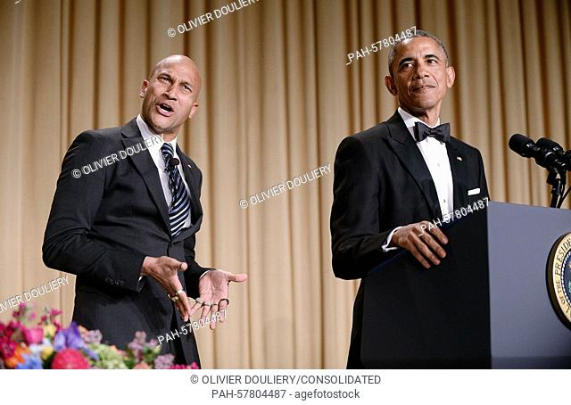 """United States President Barack Obama, right, uses actor Keegan-Michael Key from Key & Peele to play the part of """"""""Luther"""