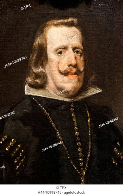 England, London, Trafalgar Square, National Gallery, Painting of Philip IV of Spain by Diego Velazquez dated 1656