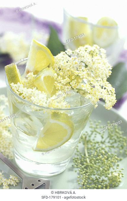 Elderflower lemonade (elderflower syrup with lemon & water, 1)