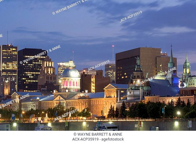 Night view towards Bonsecours Market from Old Port in Old Montreal, Quebec, Canada