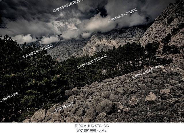 Dinaric mountain range with fog, National Park, Biokovo, Croatia
