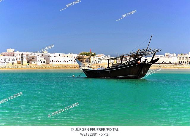 Lagoon and Harbour of Sur with Dhow, Sultanate of Oman