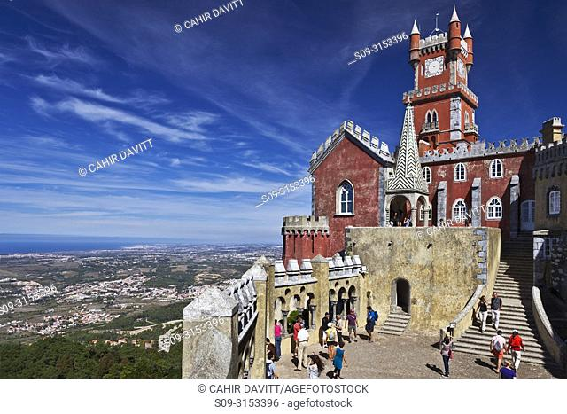 The Arches Yard, chapel and clock tower in the Pena Palace overlooking the town of Sintra and the Atlantic Ocean in Santa Eufemia, Adroana, Sintra, Lisboa
