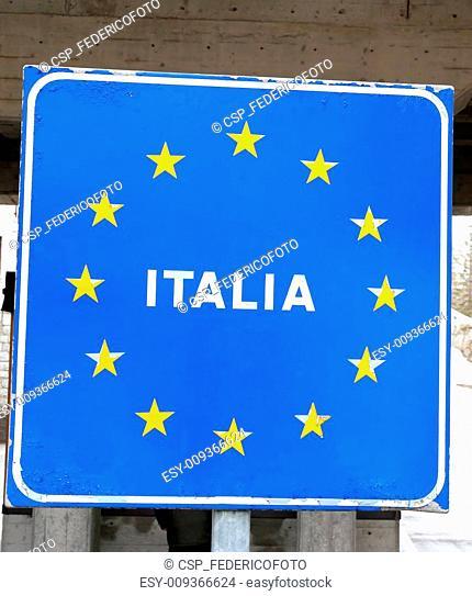 blue sign with yellow stars of European border Italia 3