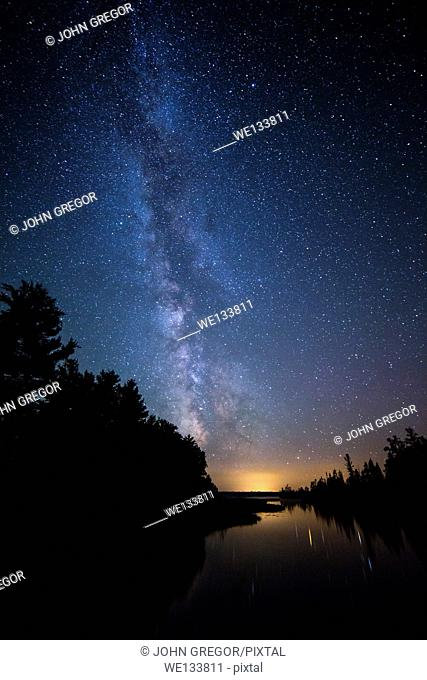 Milky Way Over Big Bay Town Park Lagoon, Madeline Island, Wisconsin, Lake Superior
