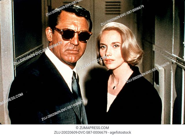 1959, Film Title: NORTH BY NORTHWEST, Director: ALFRED HITCHCOCK, Studio: MGM, Pictured: ACCESSORIES, CARY GRANT, ALFRED HITCHCOCK, EVA MARIE SAINT