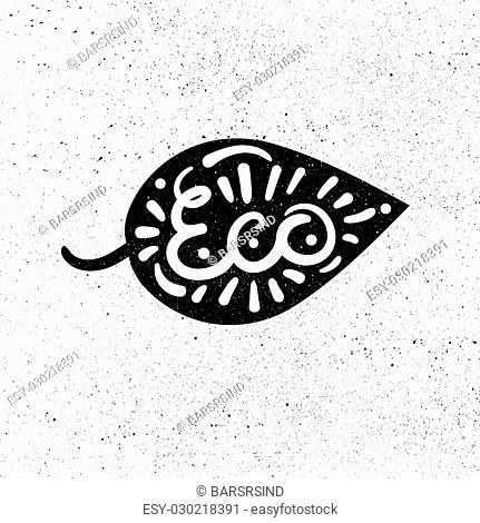 Hand drawn ecology and 100 percents natural lettering. Isolated grunge sticker or nature icon of quality for banner, web, card, print. Eco design