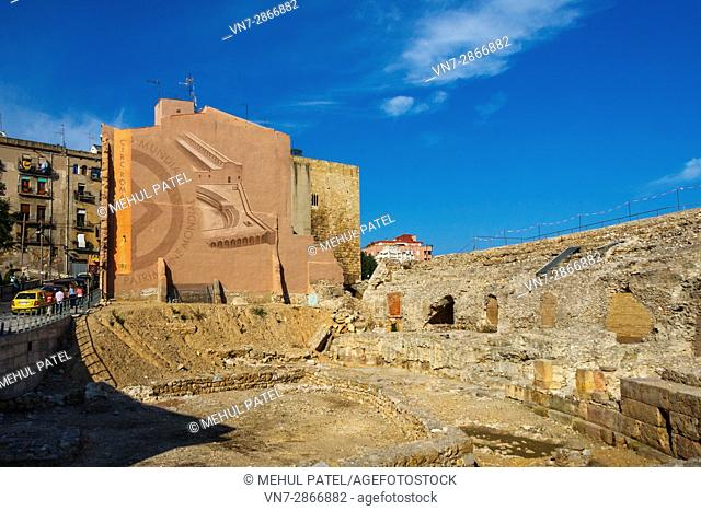 Ruins from ancient Roman times at the Circo Romano (Circ Roma in Catalan) in Tarragona, Catalonia, Spain. The Circo Romano was large open-air venue that was...