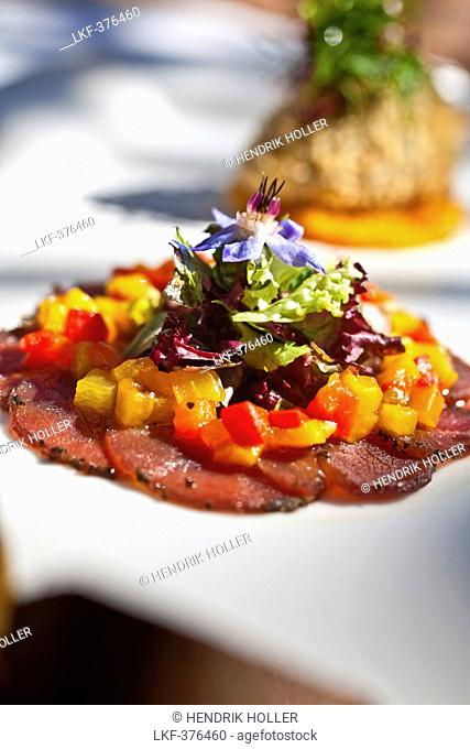 Carpaccio of ostrich with confitted peppers and pine nuts vinaigrette and babysalad, Restaurant Bosmans at Grande Roche Hotel, Paarl, Cape Town, Western Cape