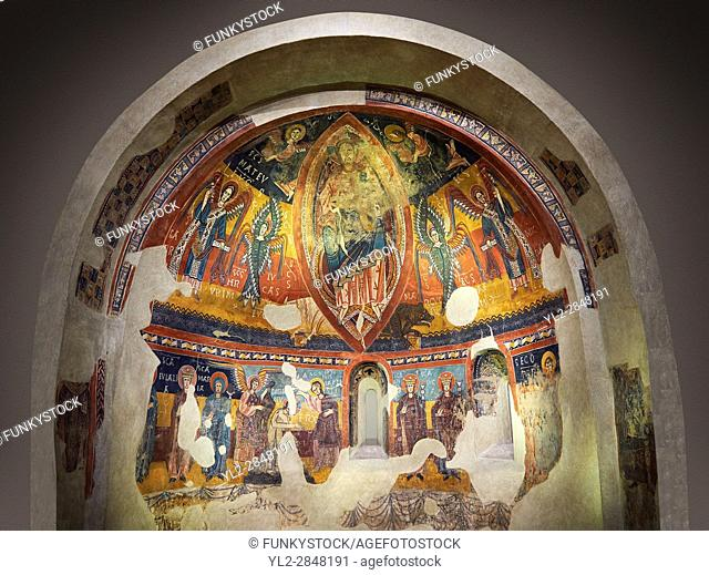 Twelfth century Romanesque frescoes of the Apse of Estaon depicting Christ Pantocrator ( In Majesty) surrounded by Byzantine style angels
