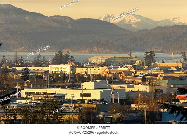 Scenic view of Campbell River with Discovery Passage and Quadra Island in the background. Campbell River,Vancouver Island, British Columbia, Canada