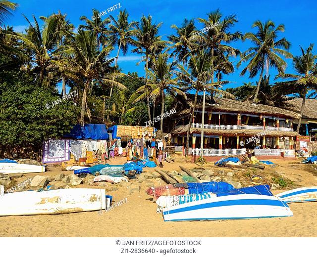 beach with shops at varkala, kerala, india