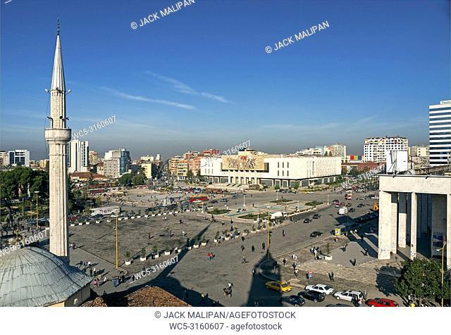 skanderberg main square in tirana albania