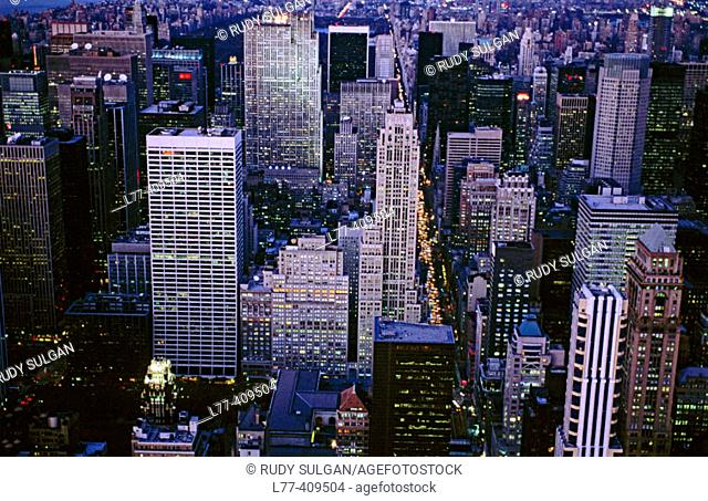 Aerial view of Midtown Manhattan. New York City, USA