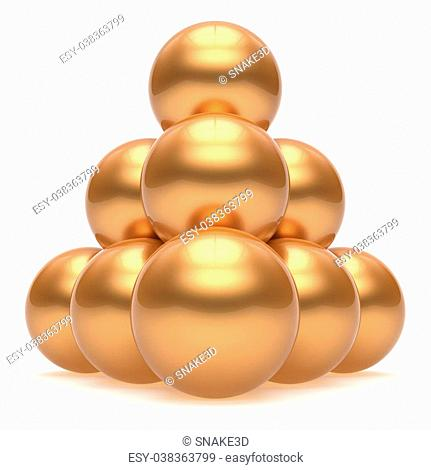 Pyramid sphere ball hierarchy corporation top order leadership element teamwork stable group business concept gold golden yellow shiny sparkling