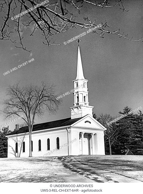 Sudbury, Massachusetts: c. 1958. View of a classic New England church in the wintertime
