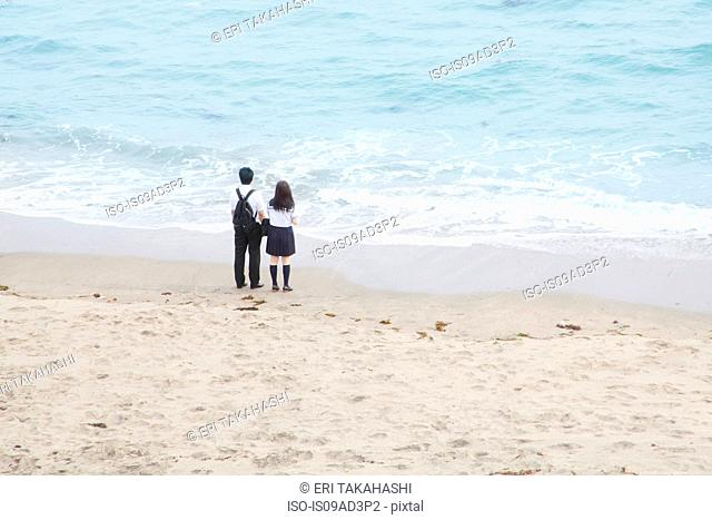 Young couple holding hands looking at sea
