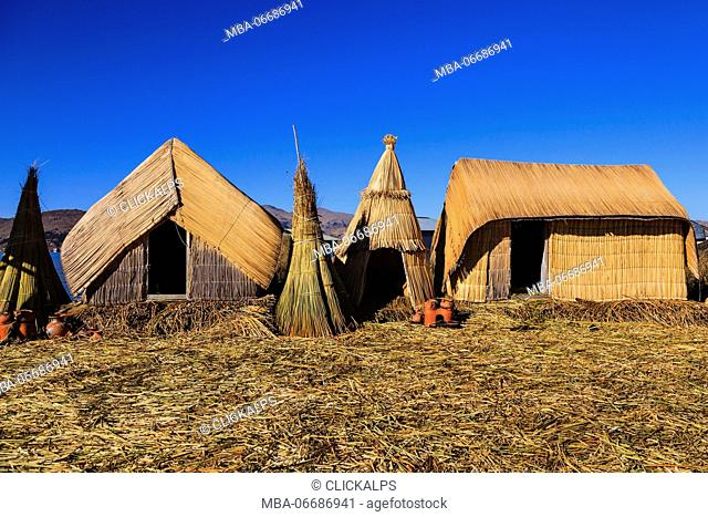 Uros floating islands on Lake Titicaca shore, Puno, Peru