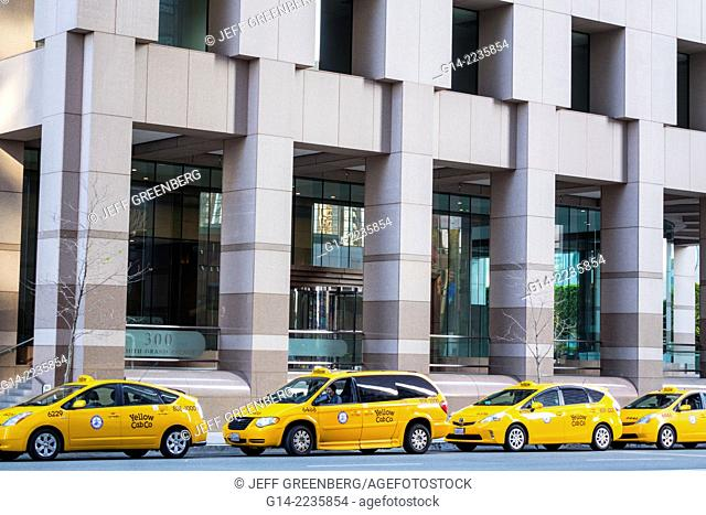 California, CA, Los Angeles, L.A., Downtown, One California Plaza, South Grand Avenue, taxi, yellow cab, minivan, car